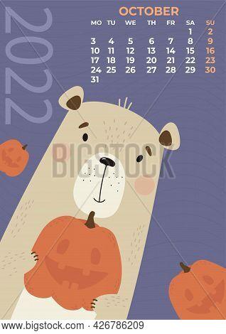 October 2022. Bear Calendar. Cute Bear With Pumpkin For Halloween On A Purple Background. Vector Ill
