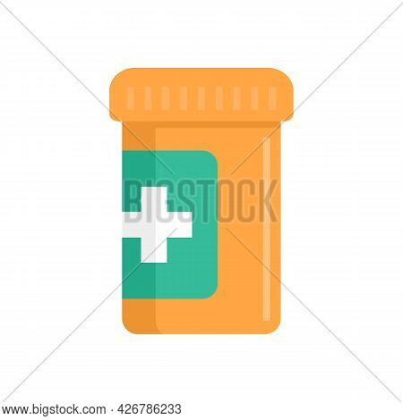 Medical Pill Jar Icon. Flat Illustration Of Medical Pill Jar Vector Icon Isolated On White Backgroun