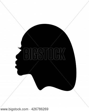 Black Afro African American Young Girl Woman Lady Vector Portrait Head Face Profile Silhouette Bob H