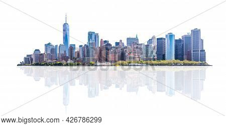 Skyline Panorama Of Downtown Financial District And The Lower Manhattan In New York City, Usa. Isola