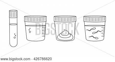 Linear Medical Tests Of Blood, Urine, Stool, Sperm. Urinalysis, Blood, Poo And Semen Analysis Set. E