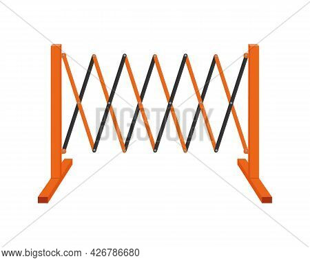 Sliding Road Barrier. Traffic Obstacle Isolated On White Background. Work Zone Safety Fence. Vector