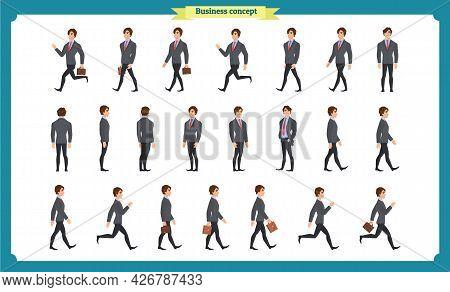 Collection Set Of Walking And Running Businessman. Walk, Run, Active. Variety Of Movements. Flat Cha