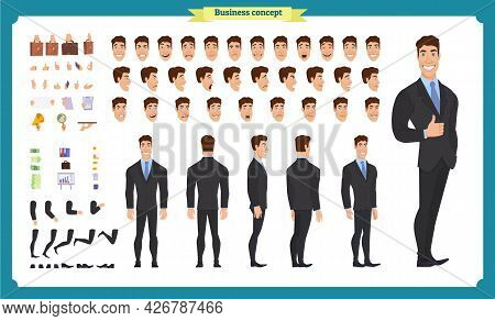 People Character Business Set. Front, Side, Back View Animated Character. Businessman Character Crea