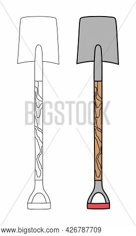 Bayonet Rectangular Iron Shovel With A Wooden Handle In A Flat Graphic Outline Style. Linear And Col
