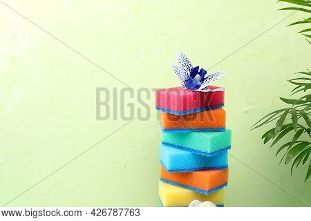 Colored Sponges For Washing Dishes And Cleaning In A Sunny Room With Palm Tree And Long Shadows. The