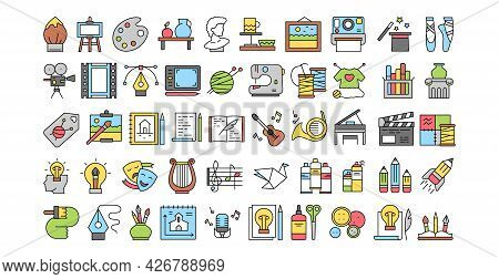 Various Hobbies Icons Selection On White Background - Vector Illustration