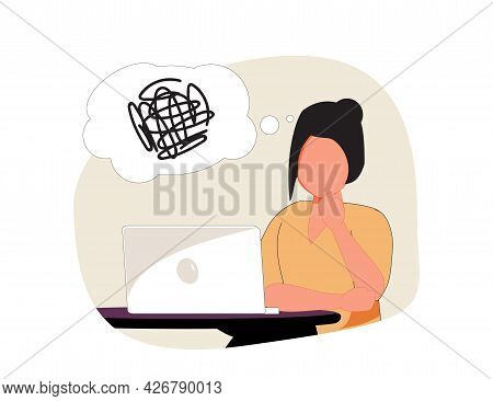 Contemplations, Figuring Out, Untangling, And Problem-solving. Cute Cartoon Girl Sitting In Front Of