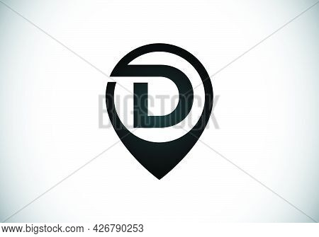 Initial D Monogram Letter Alphabet With Location Icon Pin Sign. Font Emblem. Navigation Map, Gps, Di