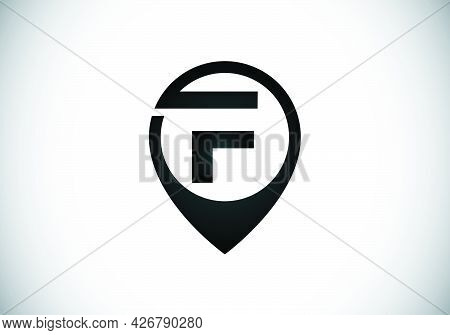 Initial F Monogram Letter Alphabet With Location Icon Pin Sign. Font Emblem. Navigation Map, Gps, Di