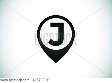 Initial J Monogram Letter Alphabet With Location Icon Pin Sign. Font Emblem. Navigation Map, Gps, Di
