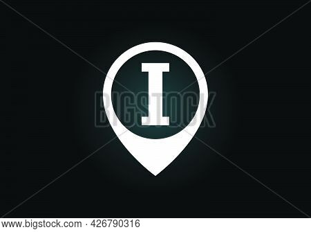Initial I Monogram Letter Alphabet With Location Icon Pin Sign. Font Emblem. Navigation Map, Gps, Di