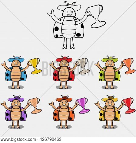 Six Colors And A Bug Wit Trophy, White Colors Background, Vector And Illustration