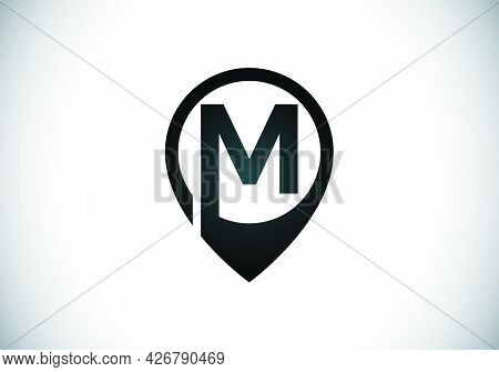 Initial M Monogram Letter Alphabet With Location Icon Pin Sign. Font Emblem. Navigation Map, Gps, Di