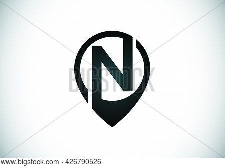Initial N Monogram Letter Alphabet With Location Icon Pin Sign. Font Emblem. Navigation Map, Gps, Di