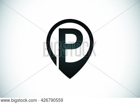 Initial P Monogram Letter Alphabet With Location Icon Pin Sign. Font Emblem. Navigation Map, Gps, Di