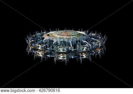 3d Illustration Of A Futuristic Ufo Spaceship Isolated On Black With Clipping Path, For Sci-fi Backg