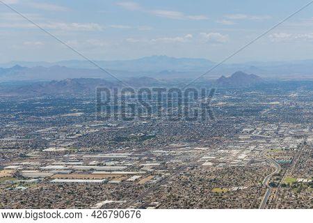 Aerial View Of A Near Mountain Range In Skyline Phoenix, Arizona Us