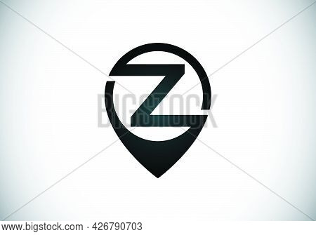 Initial Z Monogram Letter Alphabet With Location Icon Pin Sign. Font Emblem. Navigation Map, Gps, Di