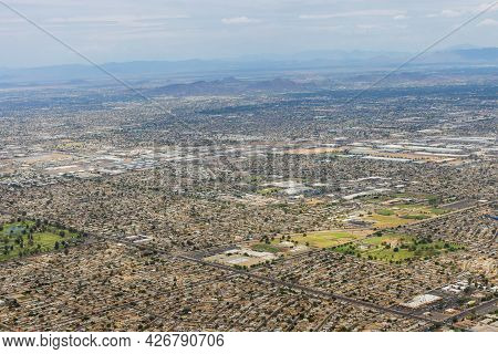 Aerial View Of Downtown Skyline Phoenix, Arizona Looking To The Northeast On Us