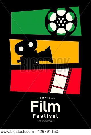 Movie Poster Design Template Background With Vintage Film Reel And Camera. Can Be Used For Backdrop,