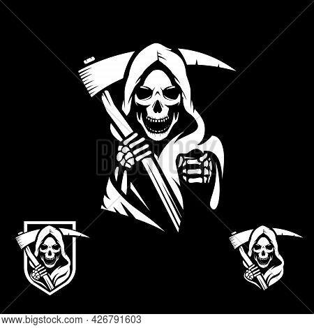 Grim Reaper Symbol Illustration In Vector Format For Logo, Sticker, Tshirt Print, Design Element Or