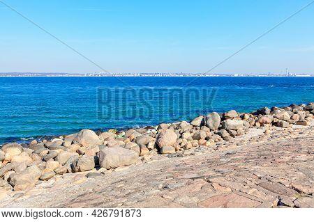 Cobblestone Dam . View Of Sweden From Denmark . Niva Bugt  Bay In Scandinavia