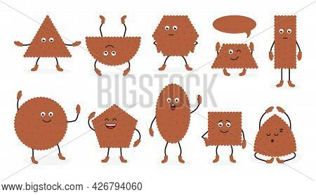Cute Brown Breakfast Snack, Biscuit In Cartoon Style With Smiling Expression. Set Icons Tasty Food C