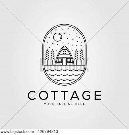Camp On Cottage And Cabin Linear Logo Vector Illustration Design