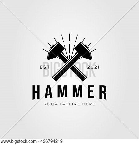 Forging Hammer, Gavel Silhouette Logo Vector Illustration Design