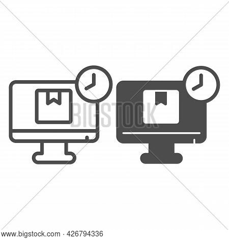 Parcel Delivery Line And Solid Icon, Officesyndrome Concept, Parcel, Monitor Vector Sign On White Ba