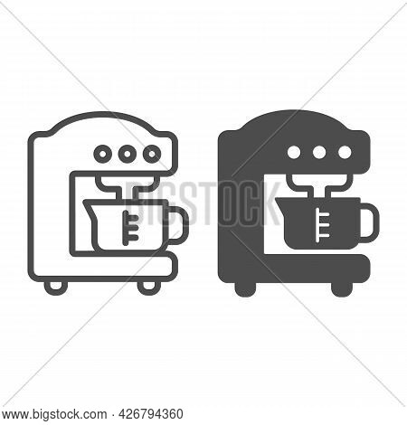 Coffee Machine Line And Solid Icon, Englishbreakfast Concept, Coffee Machine Vector Sign On White Ba