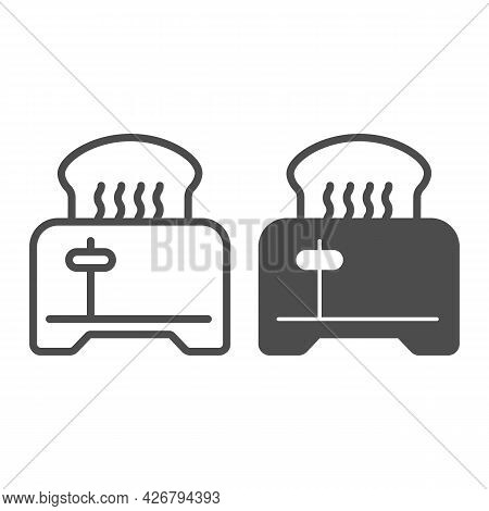 Toaster With Toasted Bread Line And Solid Icon, Englishbreakfast Concept, Toaster With Bread Vector