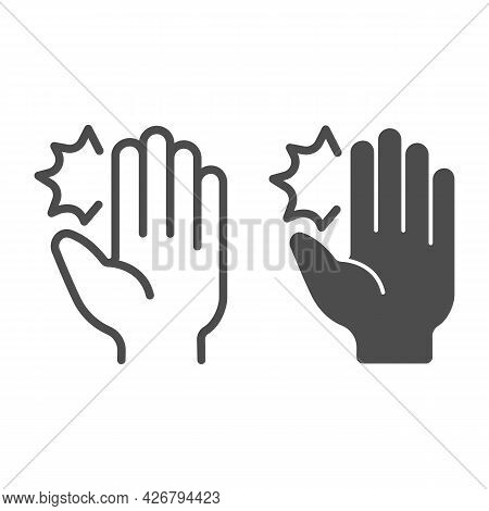 Hand Pain Line And Solid Icon, Officesyndrome Concept, Hand Pain Vector Sign On White Background, Ha