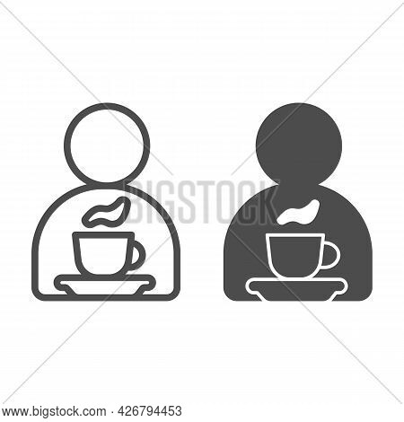 Man, Cup Of Tea On Saucer Line And Solid Icon, Englishbreakfast Concept, Cup Of Tea Vector Sign On W