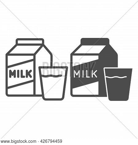 Carton Of Milk And Glass Line And Solid Icon, Englishbreakfast Concept, Milk And Glass Vector Sign O