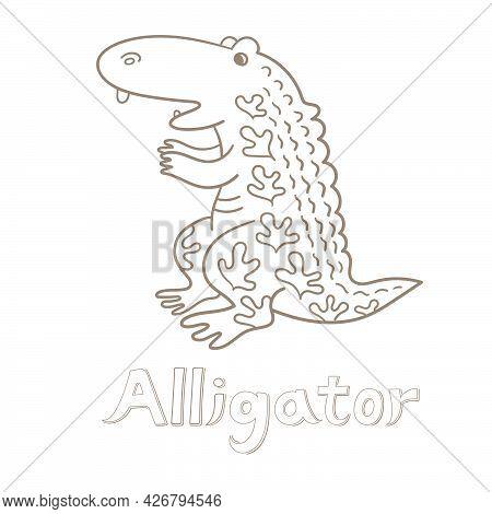 Alligator. Vector Illustration. Alphabet Card. Cute Cartoon Animal Card.