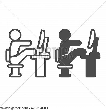 Lazy Employee Line And Solid Icon, Officesyndrome Concept, Lazy Man Sitting At Desk Vector Sign On W