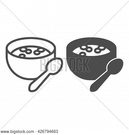 Milk Porridge Line And Solid Icon, Englishbreakfast Concept, Plate With Porridge Vector Sign On Whit