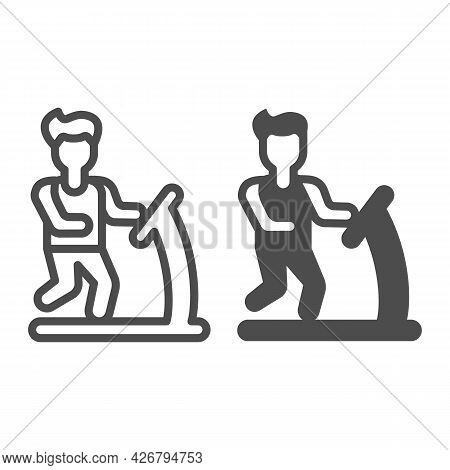 Man Run On Treadmill Line And Solid Icon, Officesyndrome Concept, Man Makes Sport Vector Sign On Whi