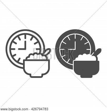 Wall Clock And Porridge Plate Line And Solid Icon, Englishbreakfast Concept, Breakfast Vector Sign O