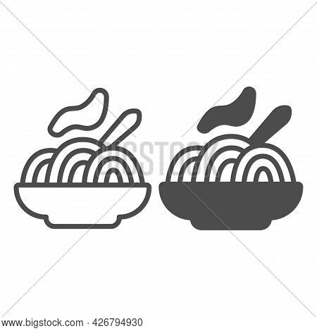 Plate Of Noodles Line And Solid Icon, Englishbreakfast Concept, Noodles Vector Sign On White Backgro