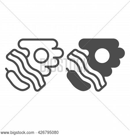 Pepper, Steak With Eggs Line And Solid Icon, Englishbreakfast Concept, Food Vector Sign On White Bac
