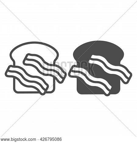 Meat Steak And Toast Bread Line And Solid Icon, Englishbreakfast Concept, Meat And Toast Vector Sign