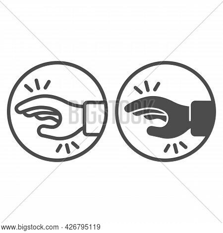Shaking Hand From Stress Line And Solid Icon, Officesyndrome Concept, Shaking Hand From Stress Vecto