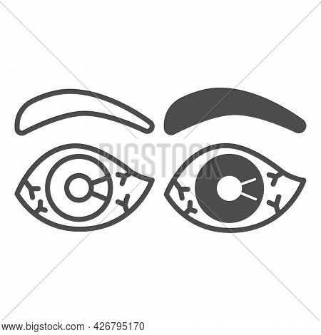 Eye Burst Capillaries Line And Solid Icon, Officesyndrome Concept, Eye Burst Capillaries Vector Sign