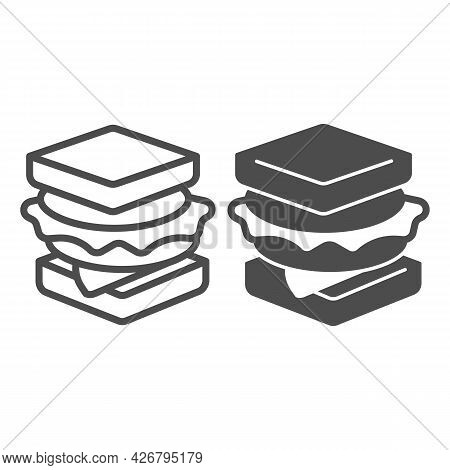 Sandwich With Sausage Line And Solid Icon, Englishbreakfast Concept, Sandwich With Cheese Vector Sig