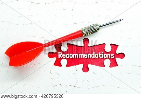 Arrows, Puzzles And Word Recommendations. Business Concept