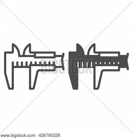 Vernier Caliper Line And Solid Icon, Construction Tools Concept, Vernier Scale Vector Sign On White