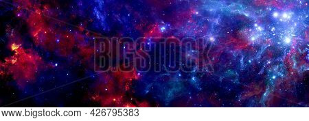 A Bright Blue Red Cosmic Background With A Nebula And Stardust